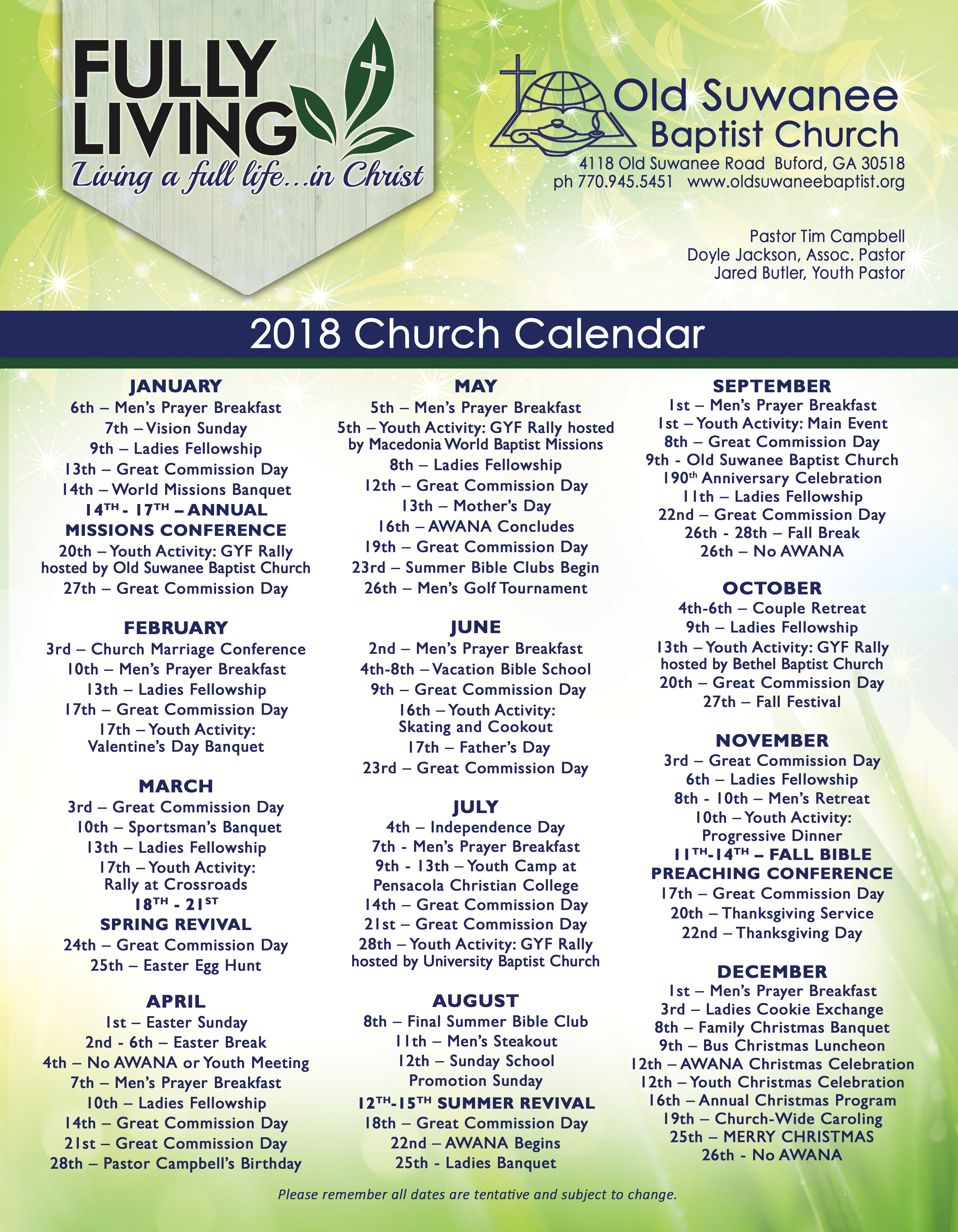 Upcoming Events - Old Suwanee Baptist Church